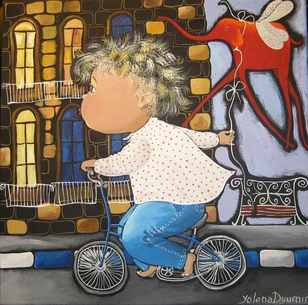 Boy on the bicycle dreams original artwork abstract art modern whimsical painting by Yelena Revis yelenaartstudio