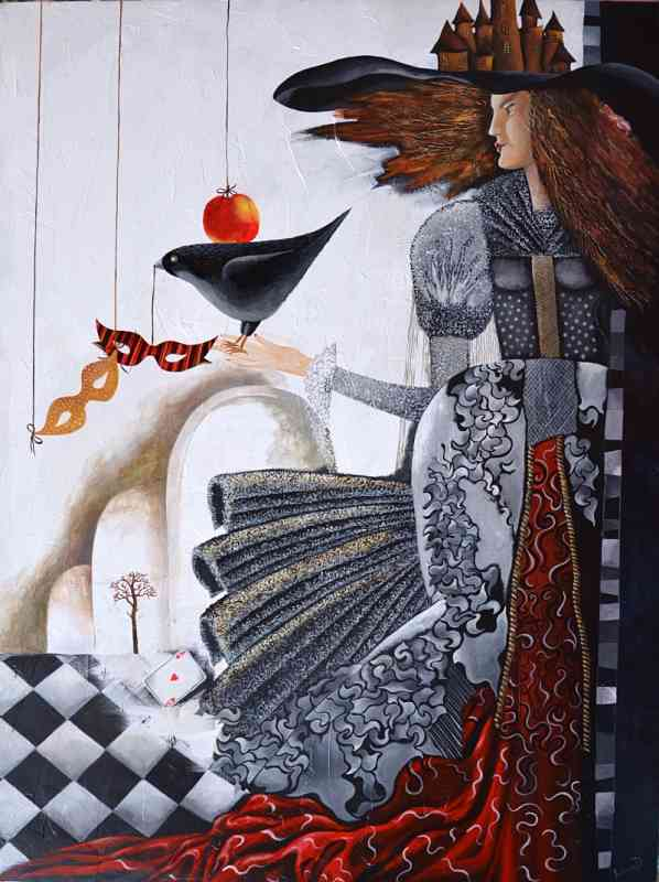 Woman holding a bird Carnival art by Yelena Revis