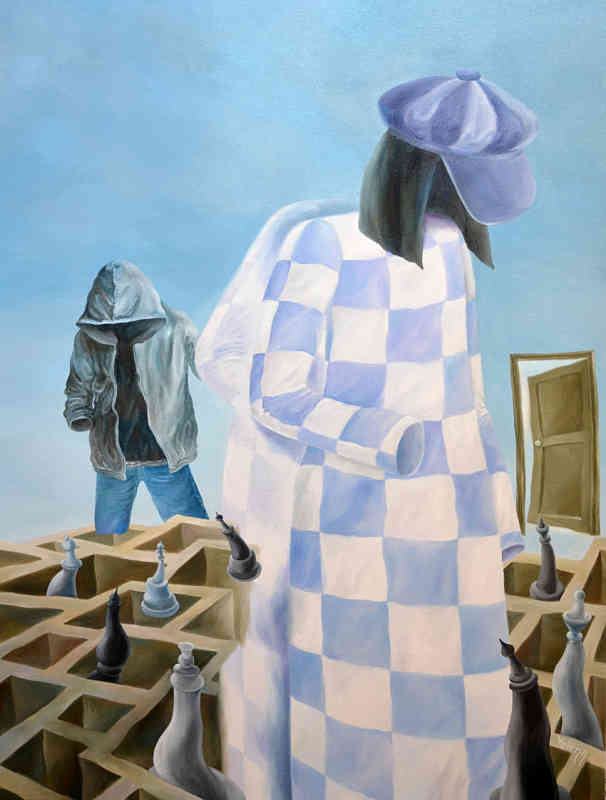 Faceless - checkmate original surrealist oil painting by Yelena