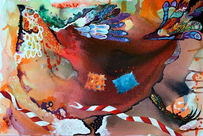 Original abstract surreal animals modern painting by Yelena Dyumin yelenaartstudio