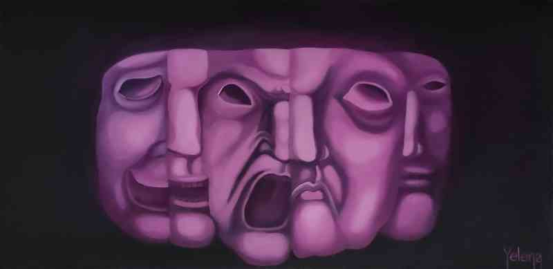 Faces and Masks I original painting contemporary oil artwork by Yelena Revis yelenaartstudio