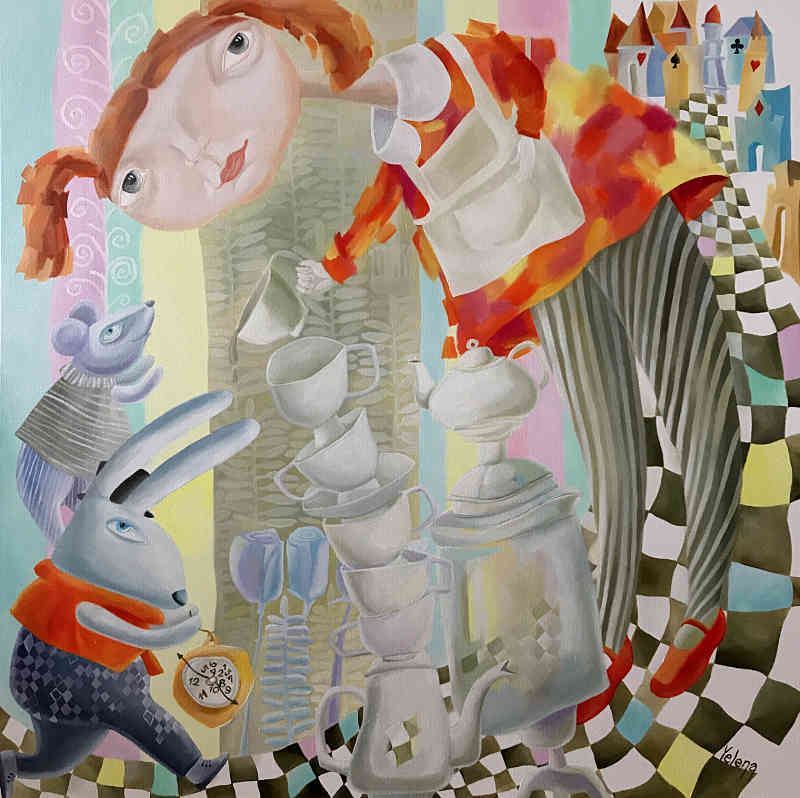 Its always tea time Alice in Wonderland painting