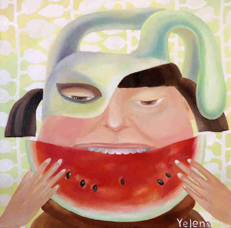Watermelon girl original oil on canvas painting by Yelena Revis