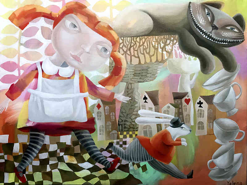 We are all mad here Alice in Wonderland painting